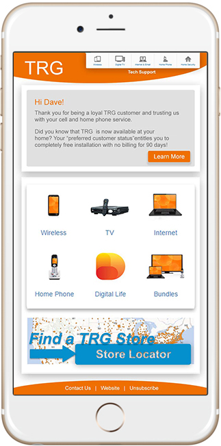 example of a telecom company portal page displayed on a mobile device