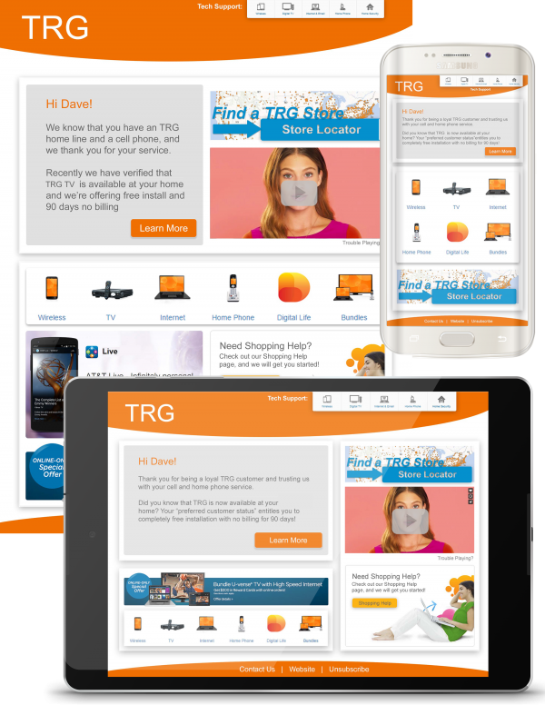 example of a telecom company portal displayed on different devices