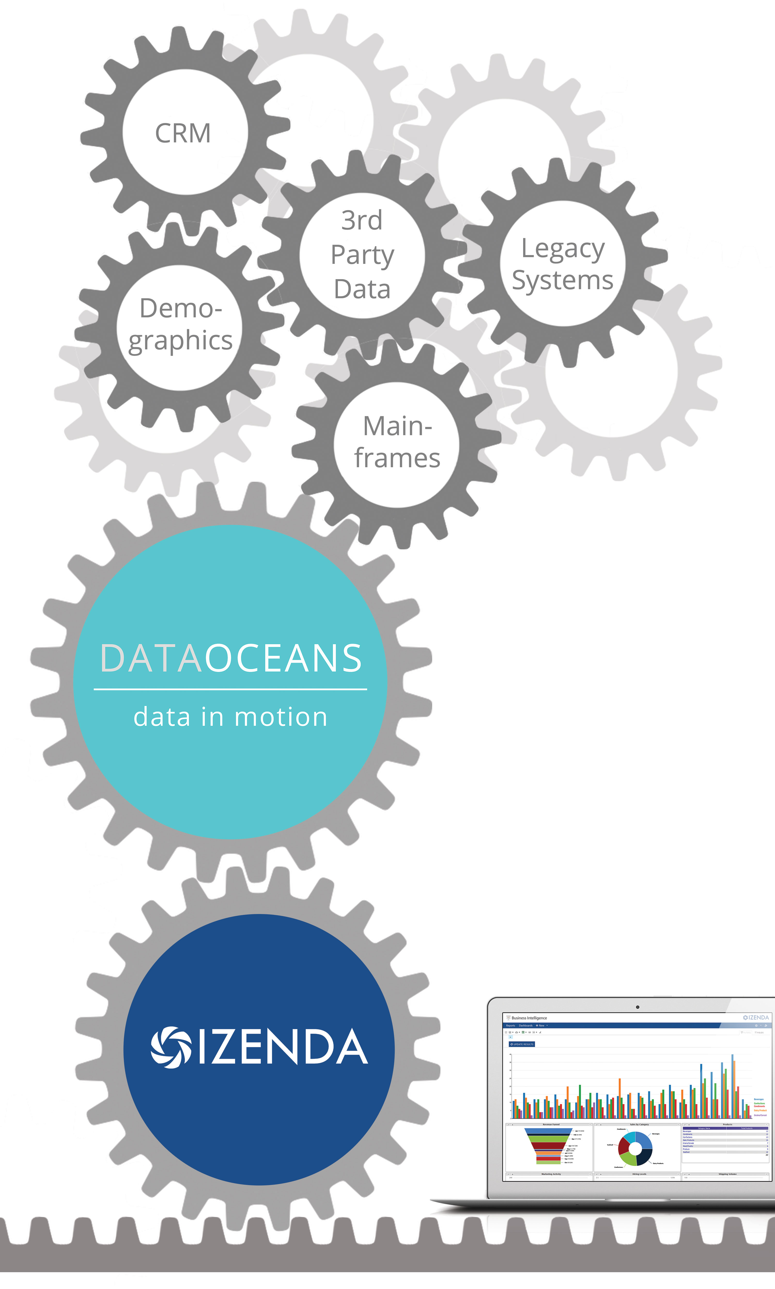 DataOceans can connect various sources of data - legacy systems, CRM and third party - with Izenda BI