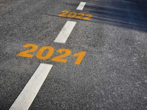 roadway with the years 2021 and 2022 painted on it