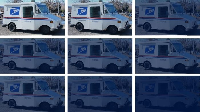 Image of a US Postal Service truck repeated on a darkening grid to suggest a USPS slowdown