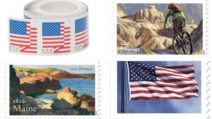 a selection of US postage stamps