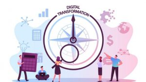 illustration of customer team using a compass to suggest digitally transforming their company communications