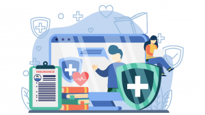 an illustrated montage of healthcare insurance elements including a tablet, shield and checklist