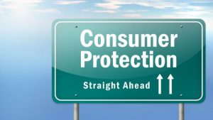 """highway sign that reads """"Consumer Protection Straight Ahead"""""""