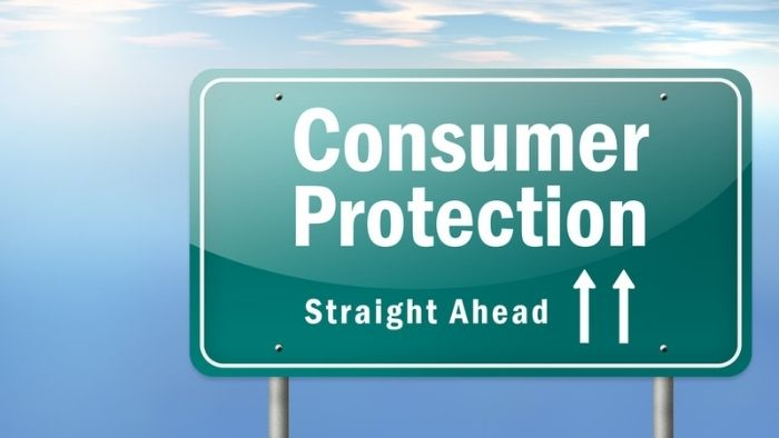 "highway sign that reads ""Consumer Protection Straight Ahead"""