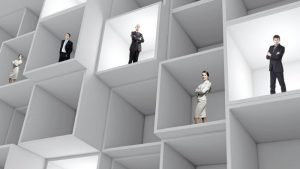 business people isolated in individual boxes