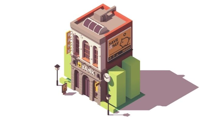 isometric illustration of a smaller community bank
