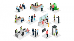 isometric illustration of member journeys mapped at a credit union
