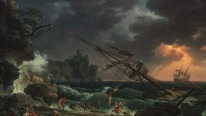 oil painting by Claude-Joseph Vernet titled The Shipwreck